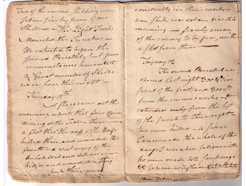 Diary of Mathew Gregory, events during the siege of Yorktown, Virginia, September 30-October 30, 1781, Collection of Fraunces Tavern Museum