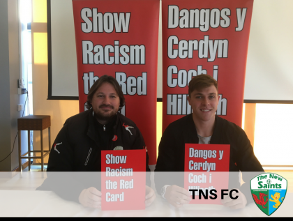TNS manager Craig Harrison and player Tom Matthews