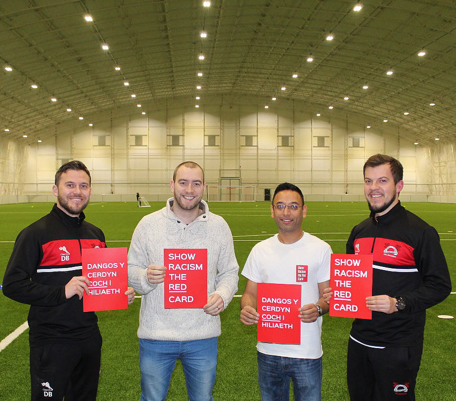 Dominic Broad, Jason Webber & Sunil Patel of SRTRC and Damien Broad. Pictured at The home of Pontypridd Town, USW Sports Park  .