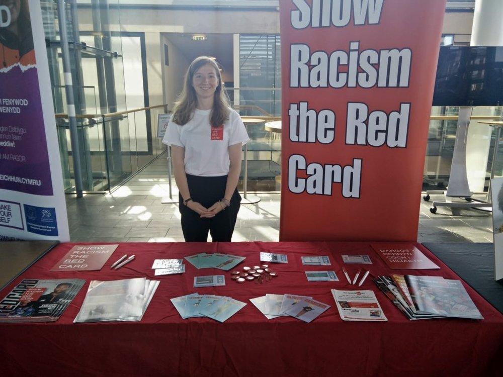 Rosa represents SRtRC at a Windrush event at the Senedd.