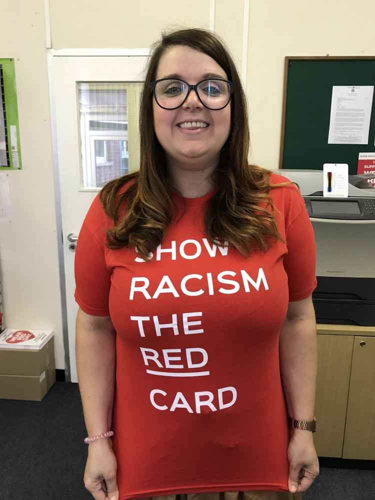 d6da7a5bb8a Show Racism the Red Card - Adult T-Shirt - Red