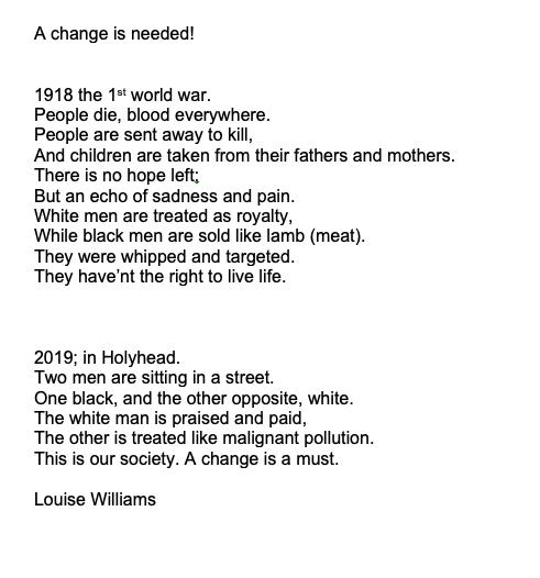 Louise Williams - Ysgol Gyfun Gwynllyw - Torfaen - Creative Writing Category - (English translation)