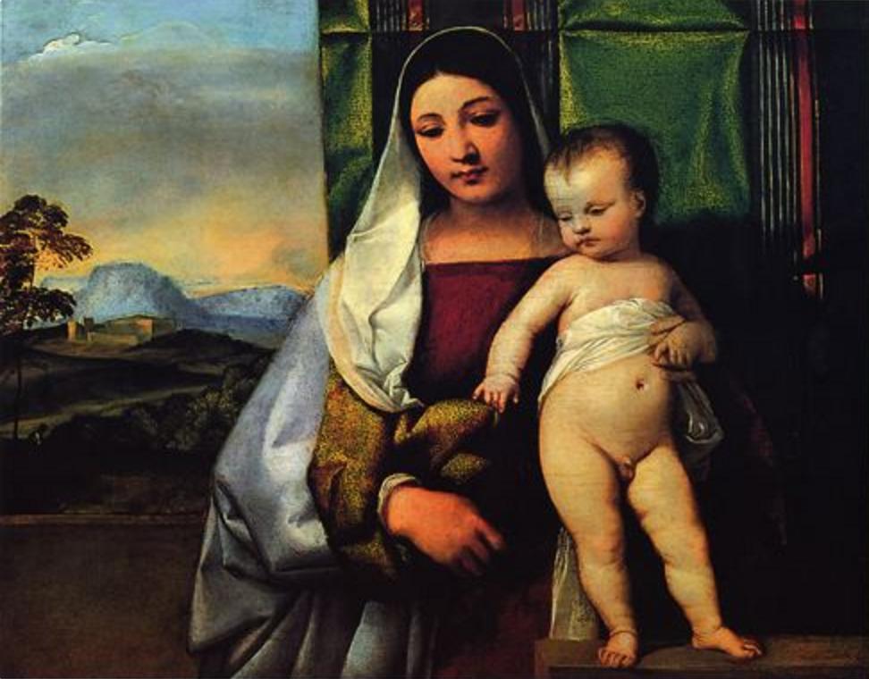 """""""Vierge et l'enfant"""",Titien 1510 - 1520, huile sur toile, Musée des Beaux Arts, Vienne"""