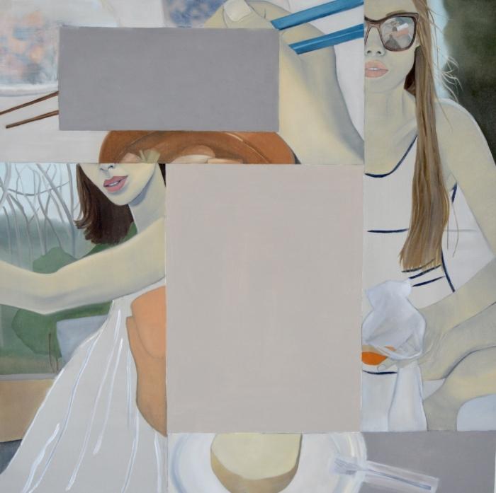 Yoga Mat , 2016.Oil, Acrylic, Collage on Canvas,100 x 100 cm