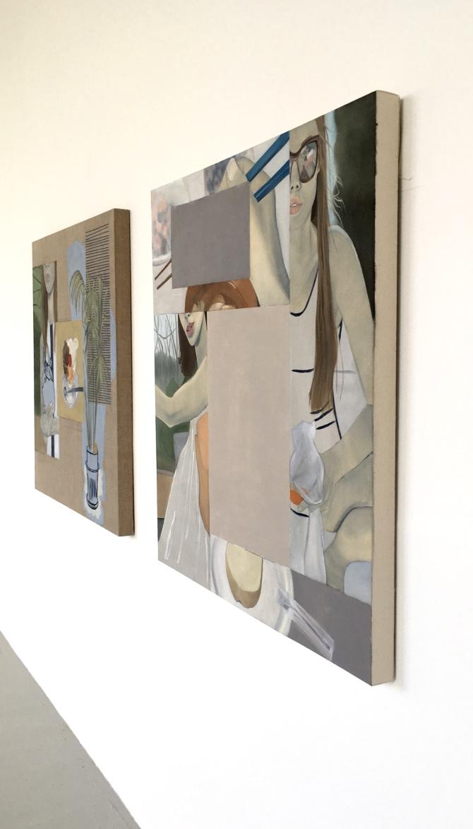 Installation view:     Left: Martini , 2016.Oil, Acrylic, Screenprint on Linen,100 x 100 cm    Right: Yoga Mat , 2016.Oil, Acrylic, Collage on Canvas,100 x 100 cm