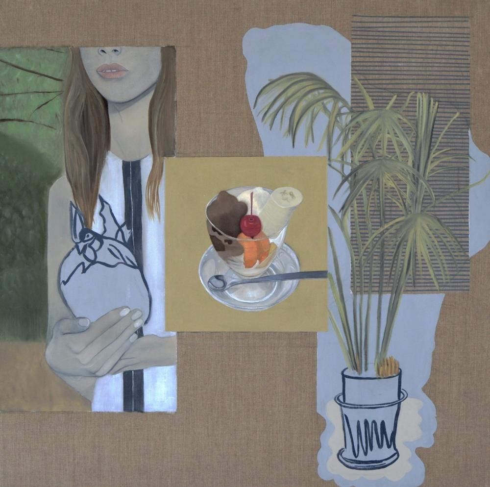 Martini , 2016.Oil, Acrylic, Collage on Canvas,100 x 100 cm