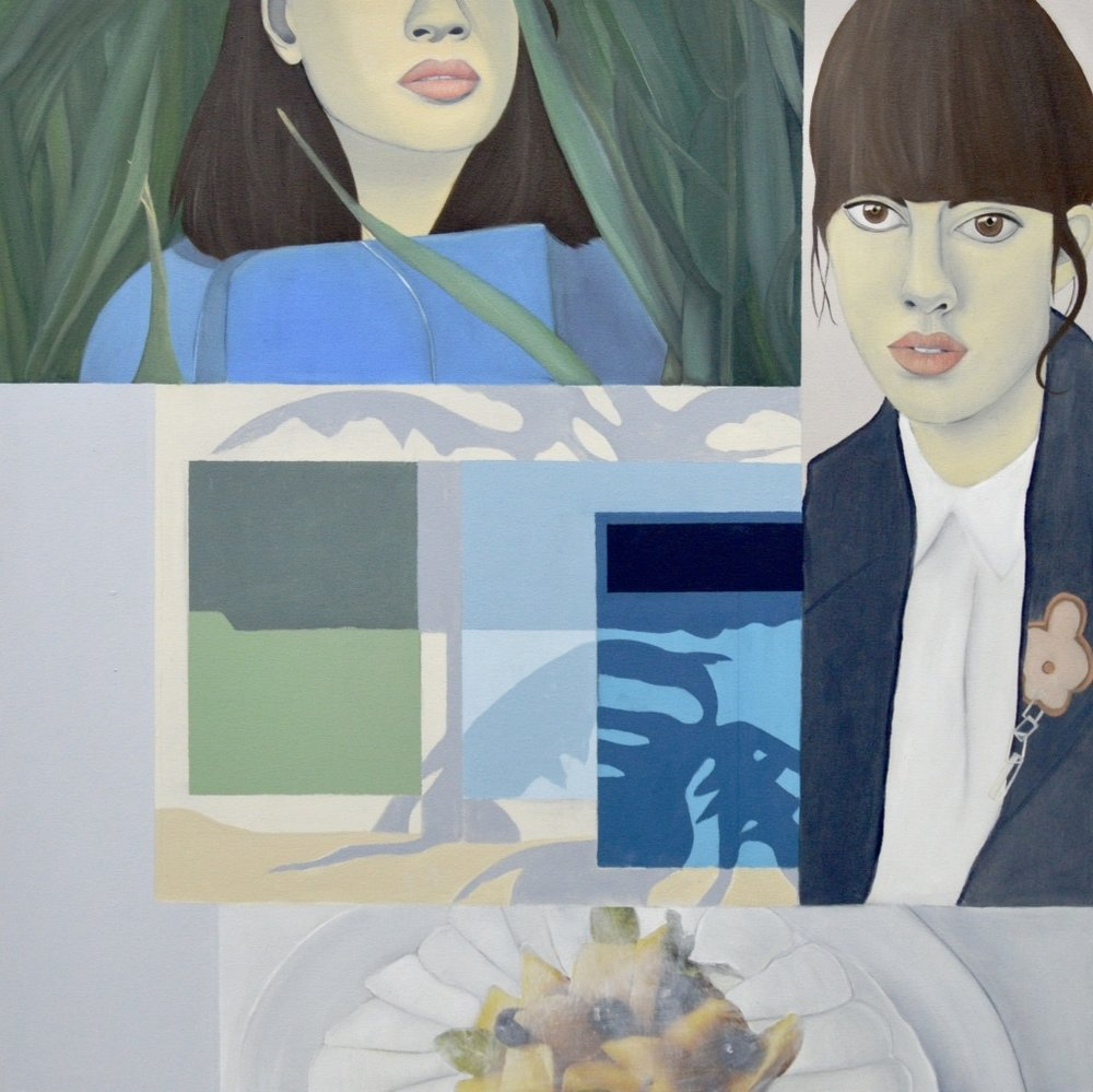 Victoria , 2016.Oil, Acrylic, Collage on Canvas,100 x 100 cm