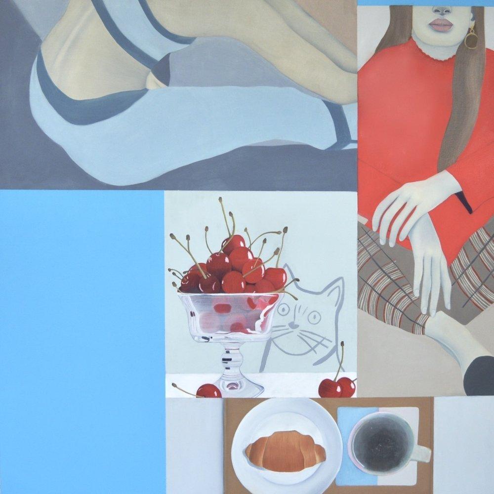 Alexandra , 2017.Oil, Acrylic, Collage on Canvas,100 x 100 cm