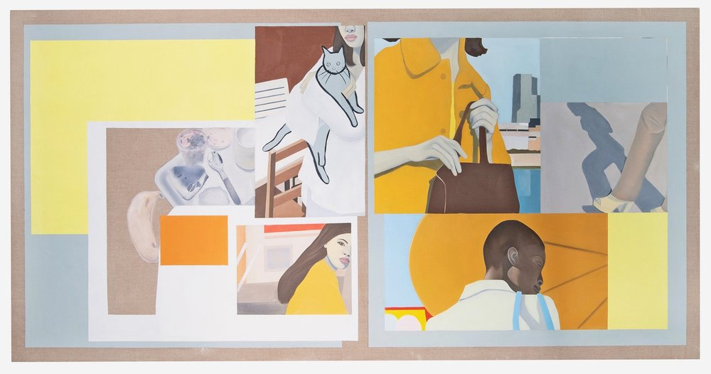 Apollinaire Orange,  Oil, Acrylic, Collage on Linen, 109 x 218 cm