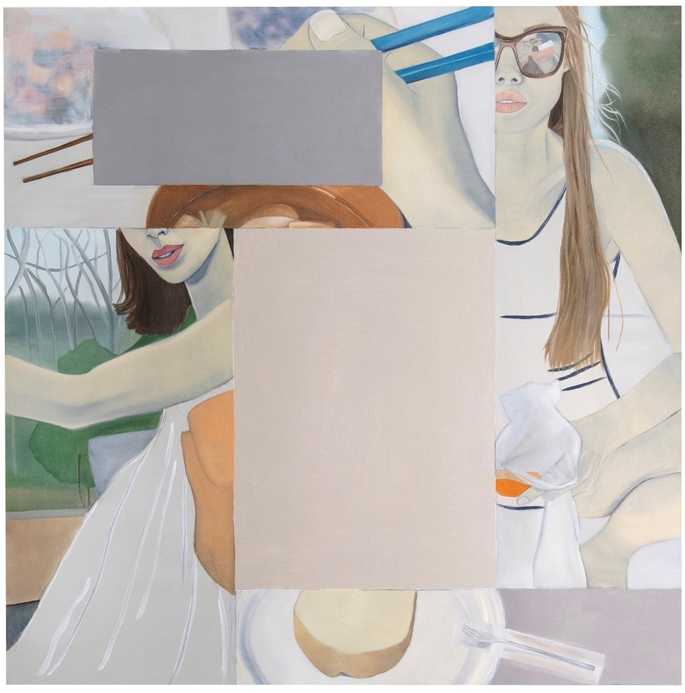Yoga Mat , 2016. Oil, Acrylic, Collage on Canvas, 100 x 100 cm