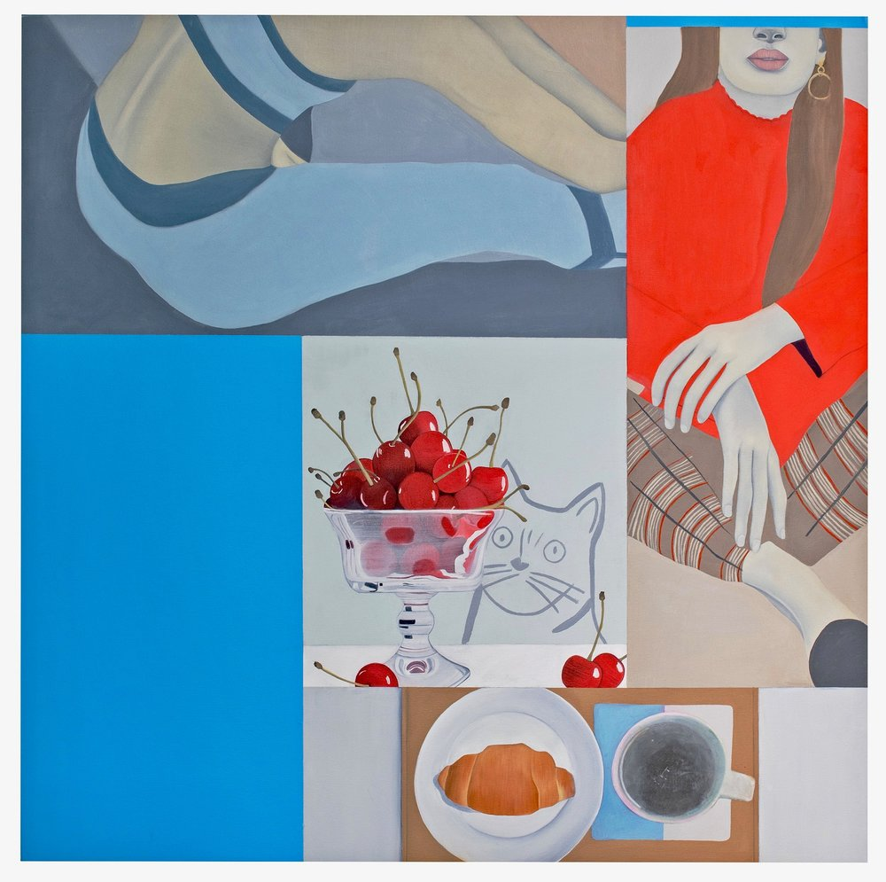 Alexandra , 2017. Oil, Acrylic, Collage on Canvas, 100 x 100 cm