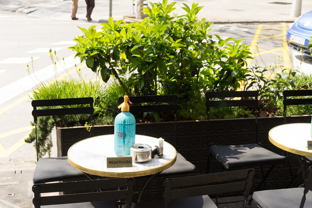 Beautiful outdoor tables at Bar Mut, Barcelona