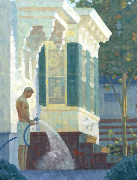 SOLD | WATERING BRAD 1, STUDY  Oil on Canvas Board