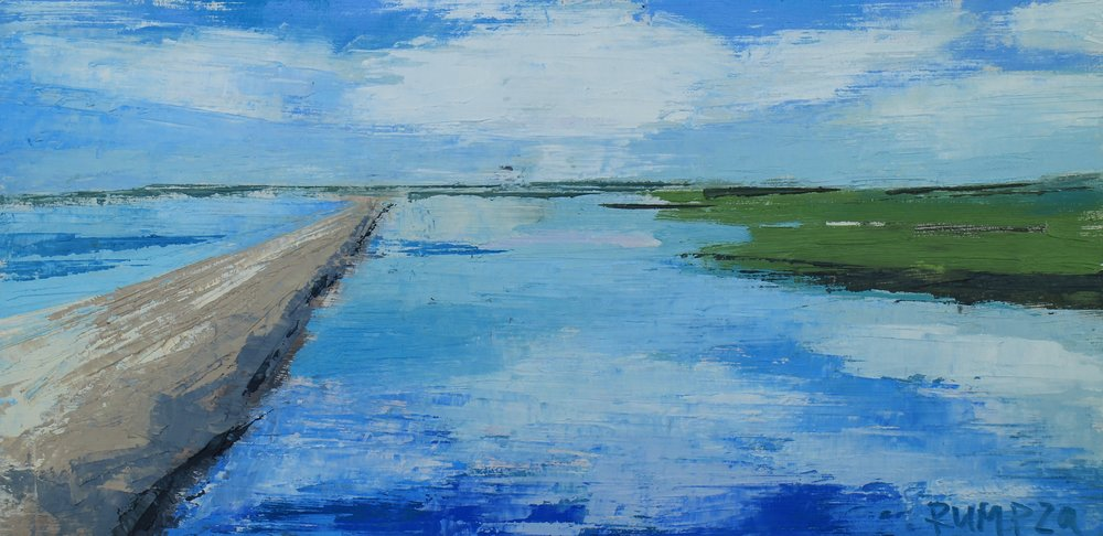 "SOLD | BREAKWATER RIGHT, 6"" X 12"" OIL ON BOARD"