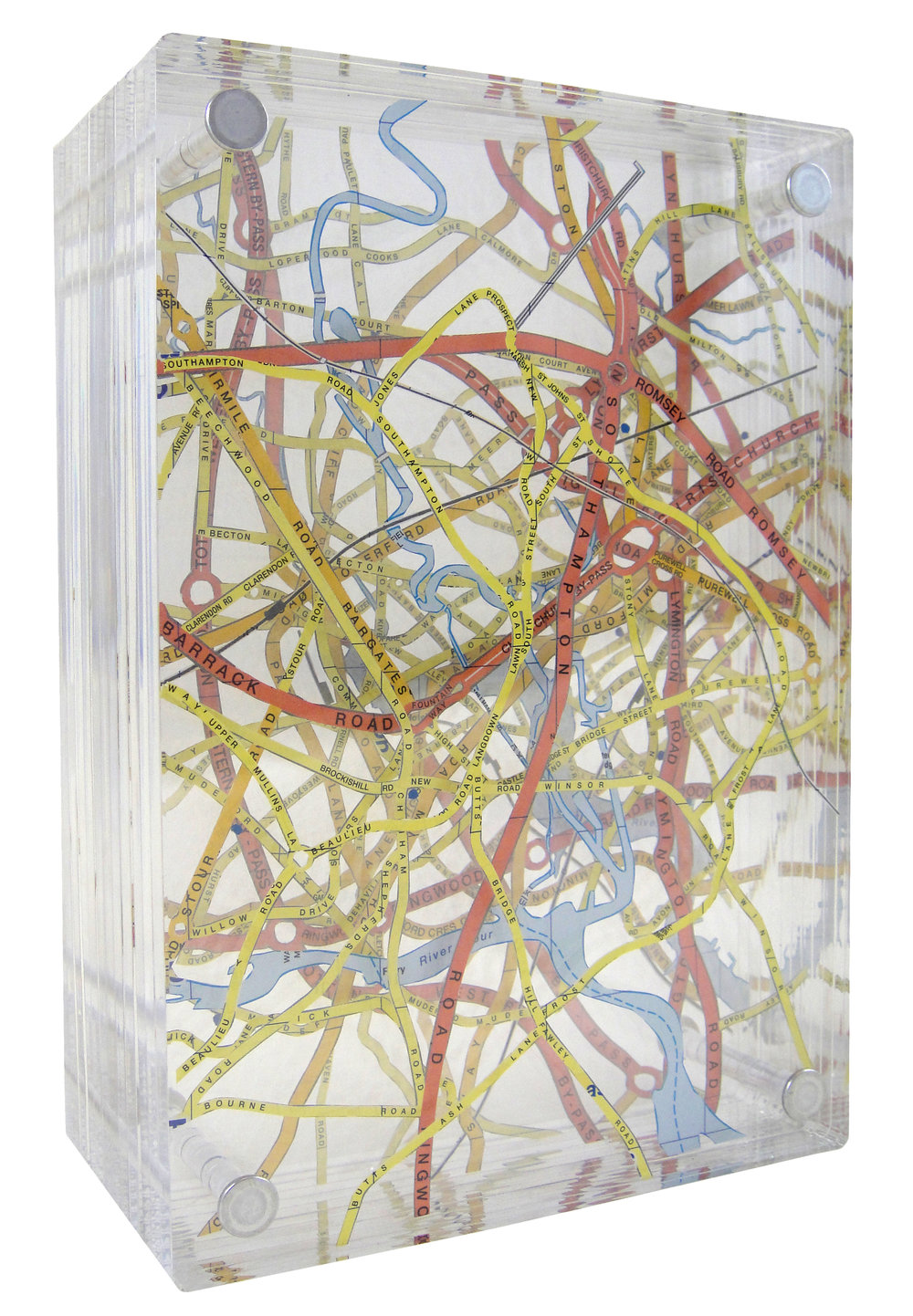 """DEPTH PERCEPTION, 7.5""""H x 5.25""""W x3""""D, EXCAVATED VINTAGE MAP, ACRYLIC, AND METAL"""