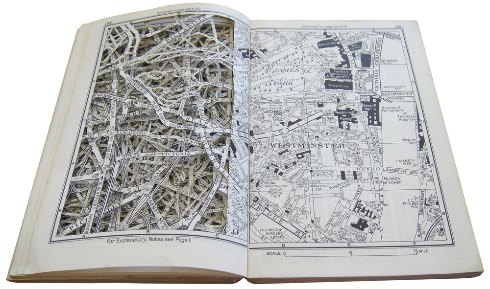 "SOLD | NO EXPLANATION NECESSARY, 7"" x 9.25"", EXCAVATED VINTAGE STREET MAPS"