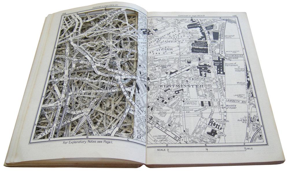 "NO EXPLANATION NECESSARY, 7"" x 9.25"", EXCAVATED VINTAGE STREET MAPS"