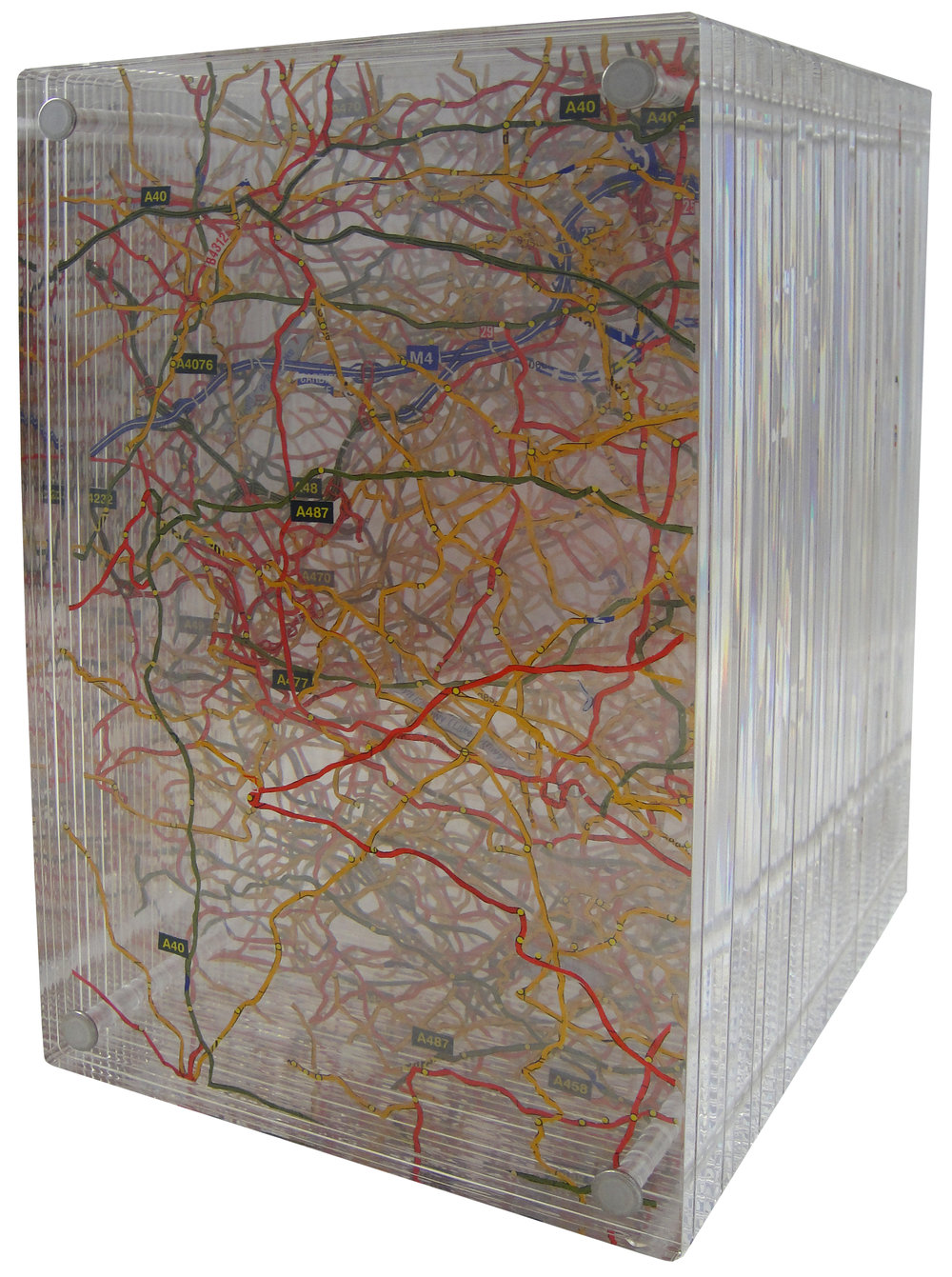"SOLD | THE ROAD HOME, 9.5""Hx6""Wx7""D, EXCAVATED VINTAGE MAP, ACRYLIC AND METAL"