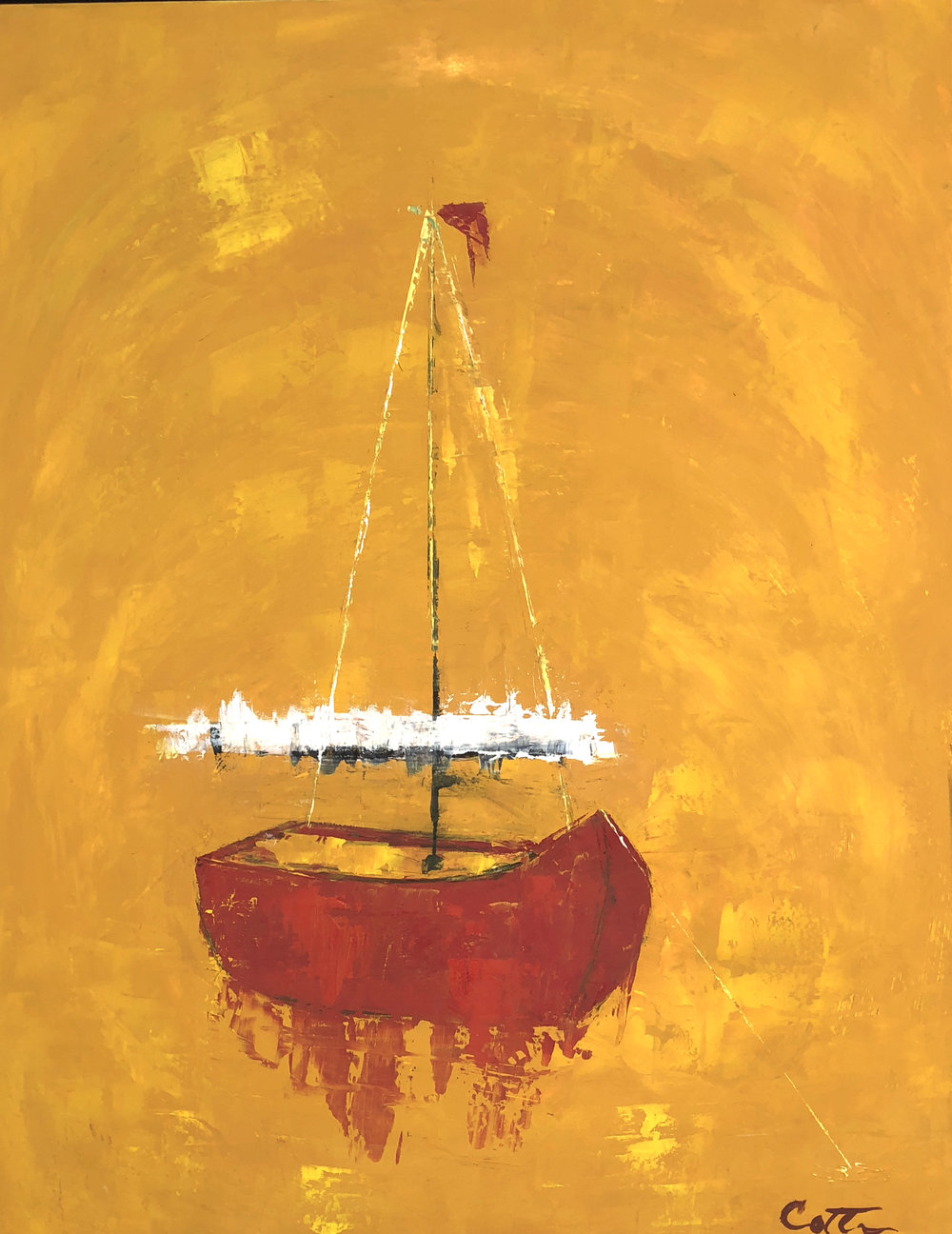 """SOLD, RED SAIL, 14"""" x 18"""", OIL ON PANEL"""