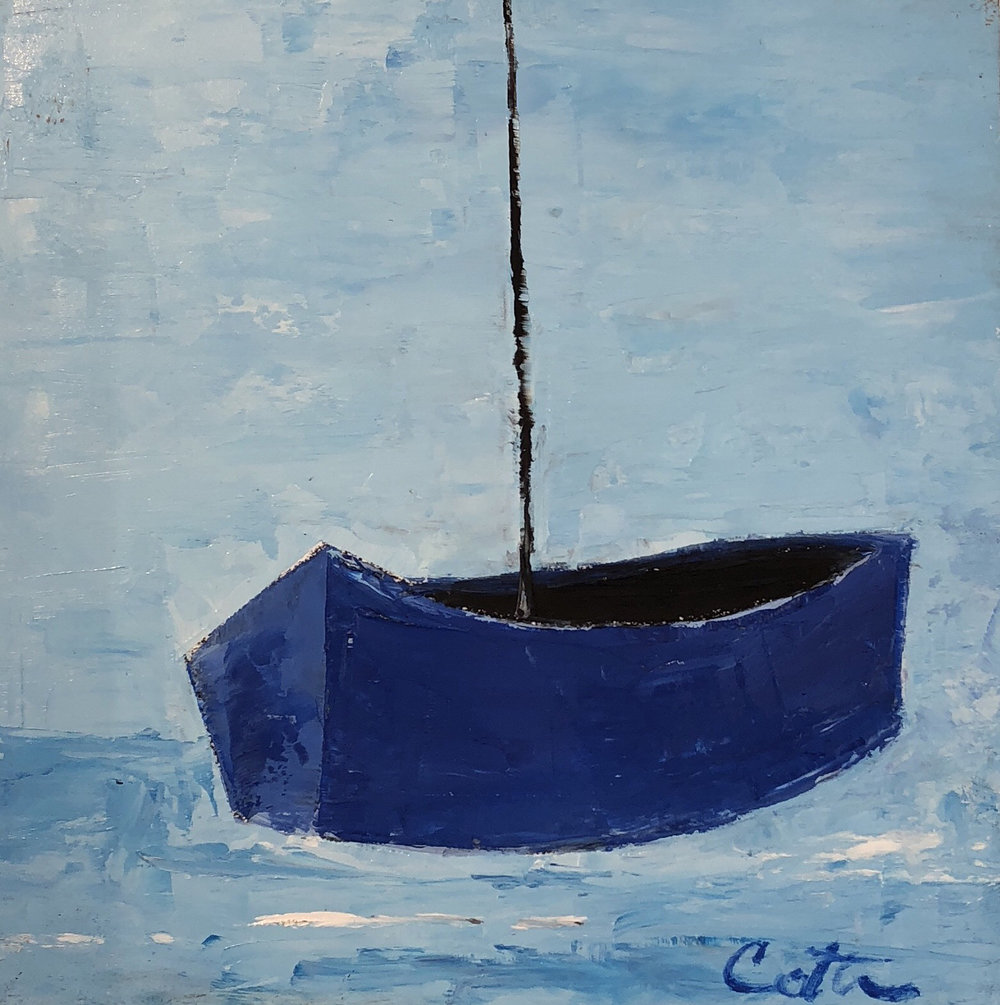 """BLUE DAY SAIL, 6"""" x 6"""", OIL ON WOOD PANEL"""