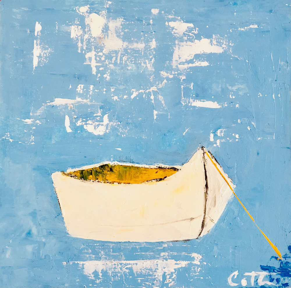 """SOLD, WHITE DORY, 6"""" x 6"""", OIL ON WOOD PANEL"""