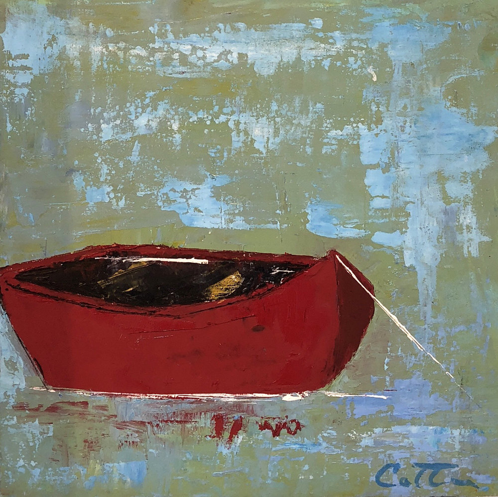 """RED BOAT III, 6"""" x 6"""", OIL ON WOOD PANEL"""