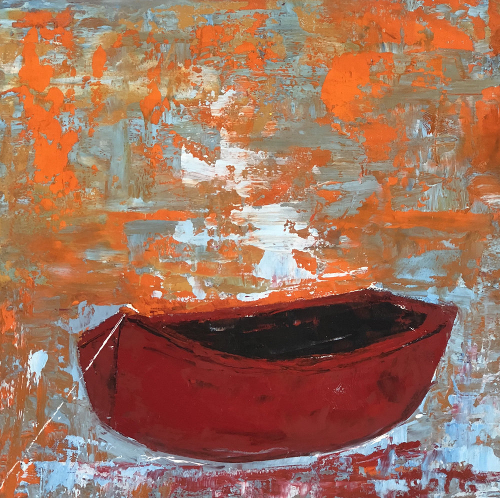 """RED BOAT II, 6"""" x 6"""", OIL ON WOOD PANEL"""