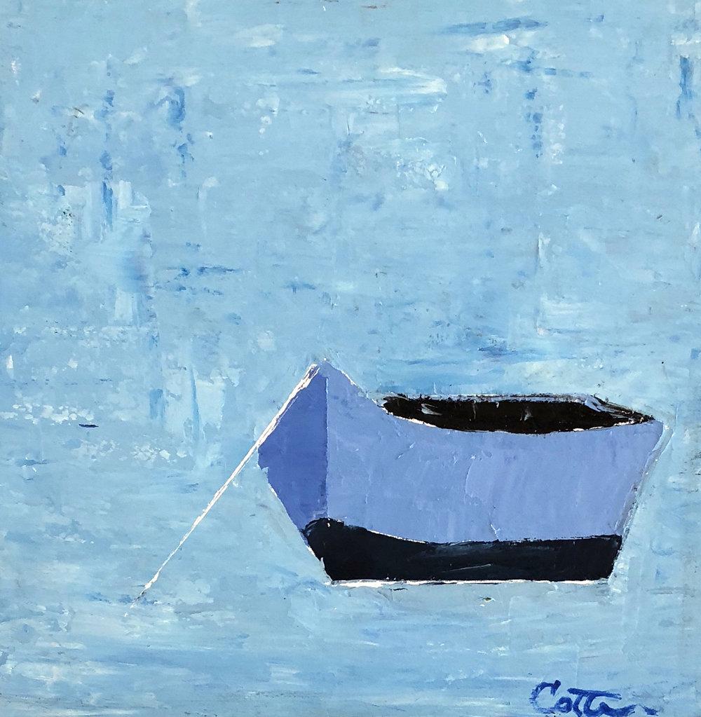 "BLUE DORY, 6"" x 6"", OIL ON WOOD PANEL"