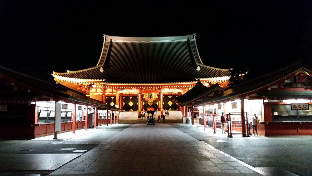 Sensoji temple, at night, blowing you away