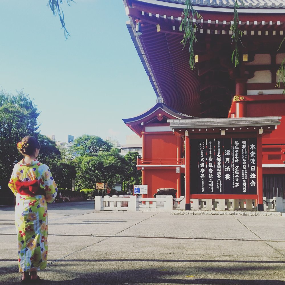 Sensoji temple in the day, and a pretty kimono