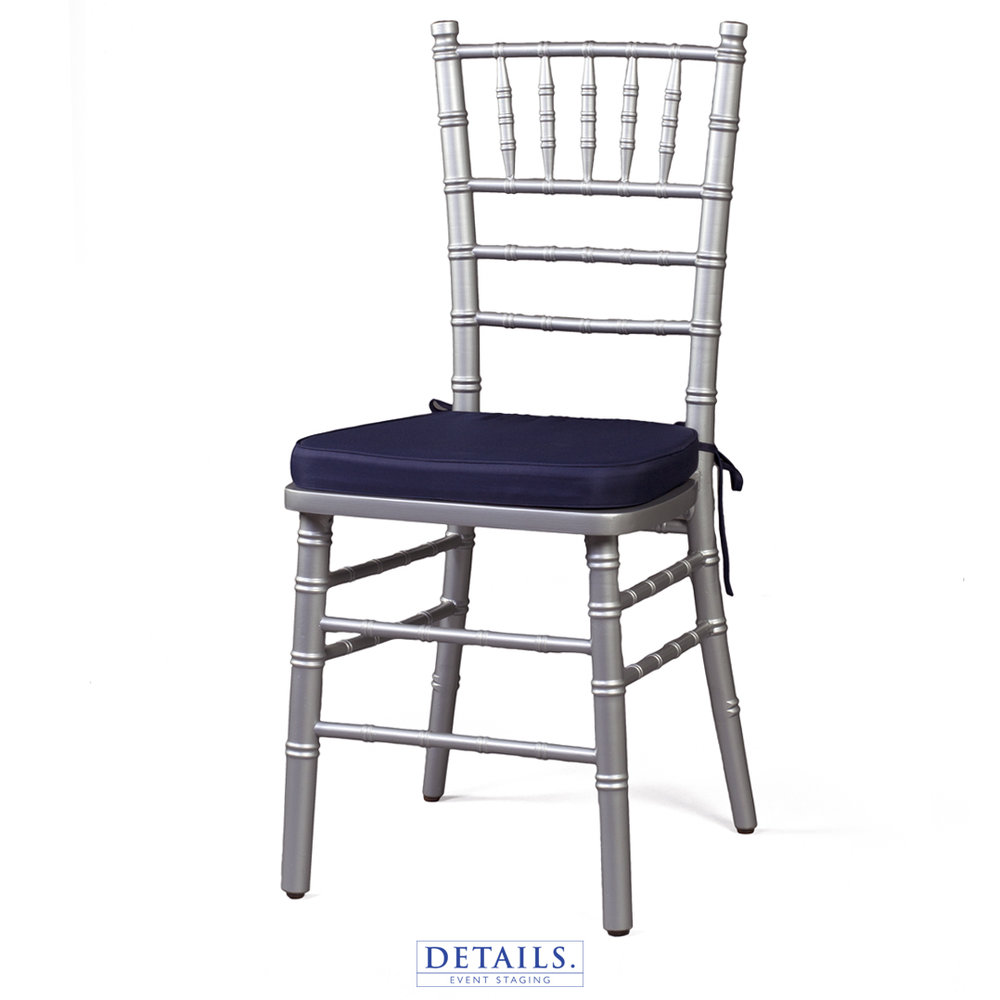 Silver CHIAVARI CHAIR — AVAILABLE WITH IVORY, WHITE, OR NAVY   CUSHIONS