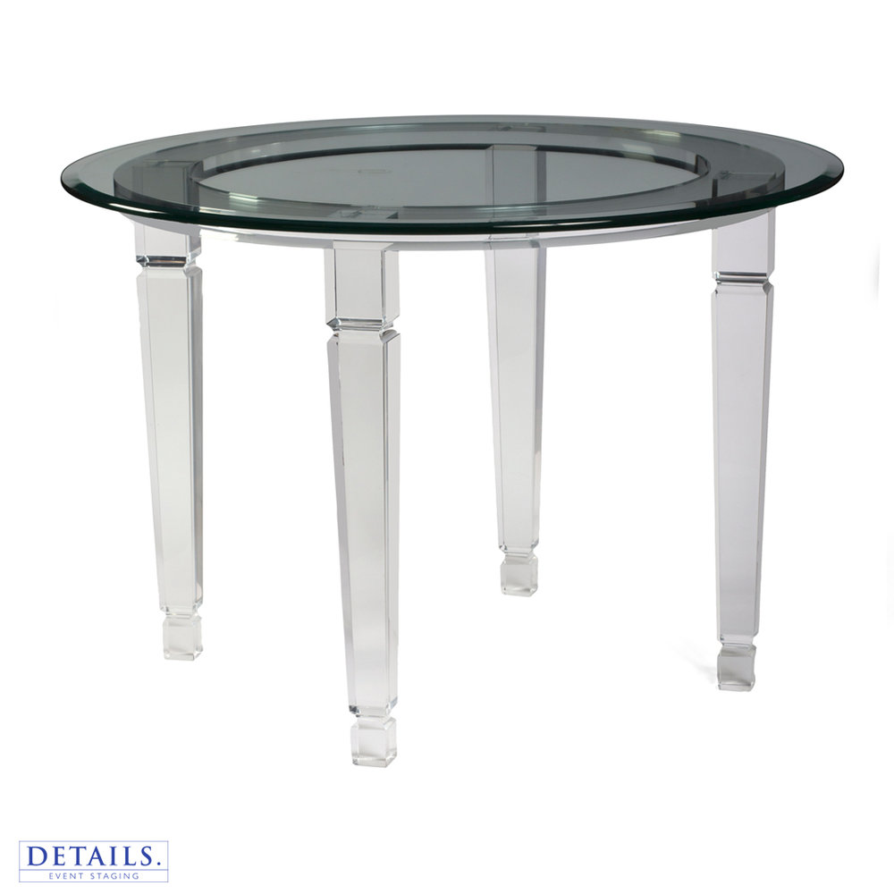 "Round Glass Table — 36"" Diameter"