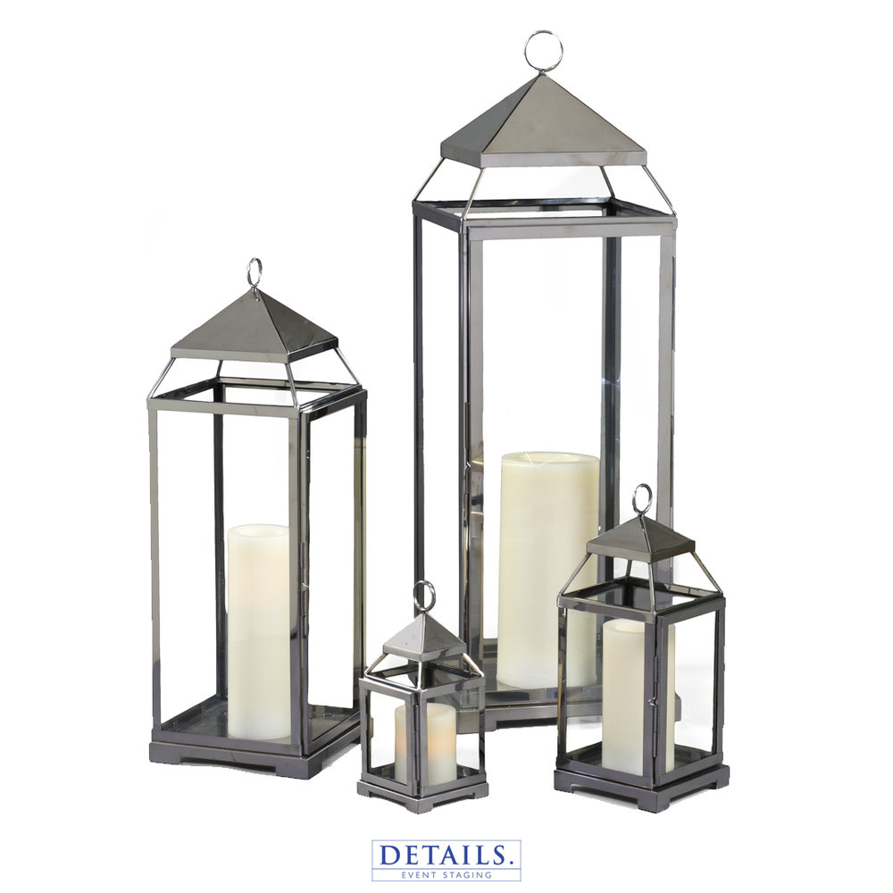 SILVER MALTA LANTERN COLLECTION — AVAILABLE IN SMALL, MEDIUM, LARGE, AND EXTRA LARGE
