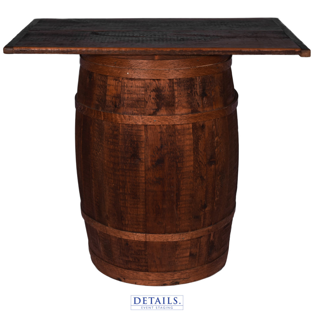 Barn Wood Barrel — Cake Top Table