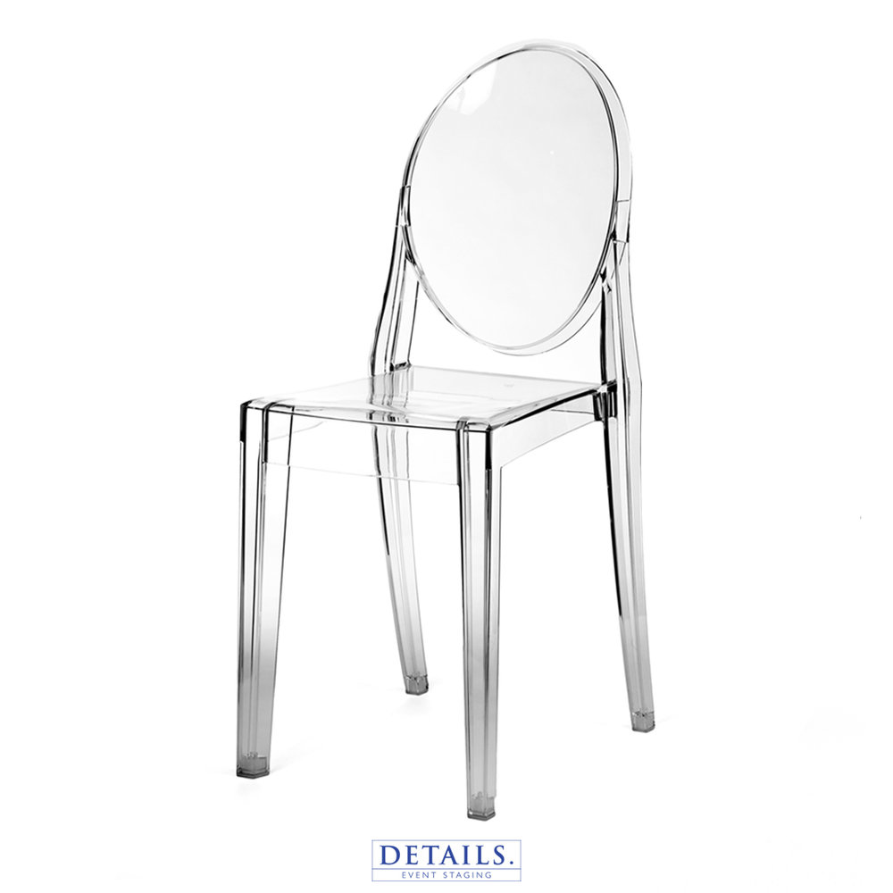 Kartell Victoria Ghost CHAIR — AVAILABLE WITH IVORY, WHITE, OR NAVY CUSHIONS