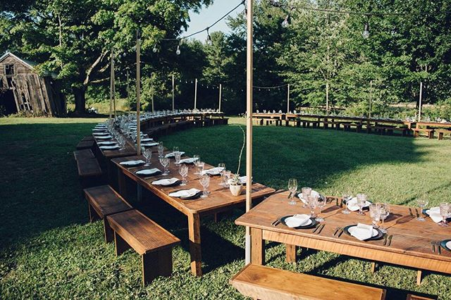 Our biggest family-style dinner event to date! 20 barn tables and 80 wood benches for 160 guests.