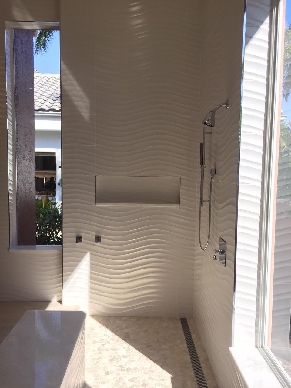 Wavy White Bathroom Tile Contemporary Karls Tile.JPG