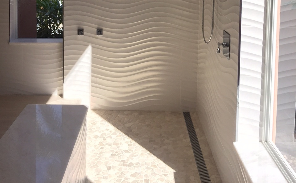 Superb Wavy White Bathroom Tile Contemporary Karls Tile.JPG