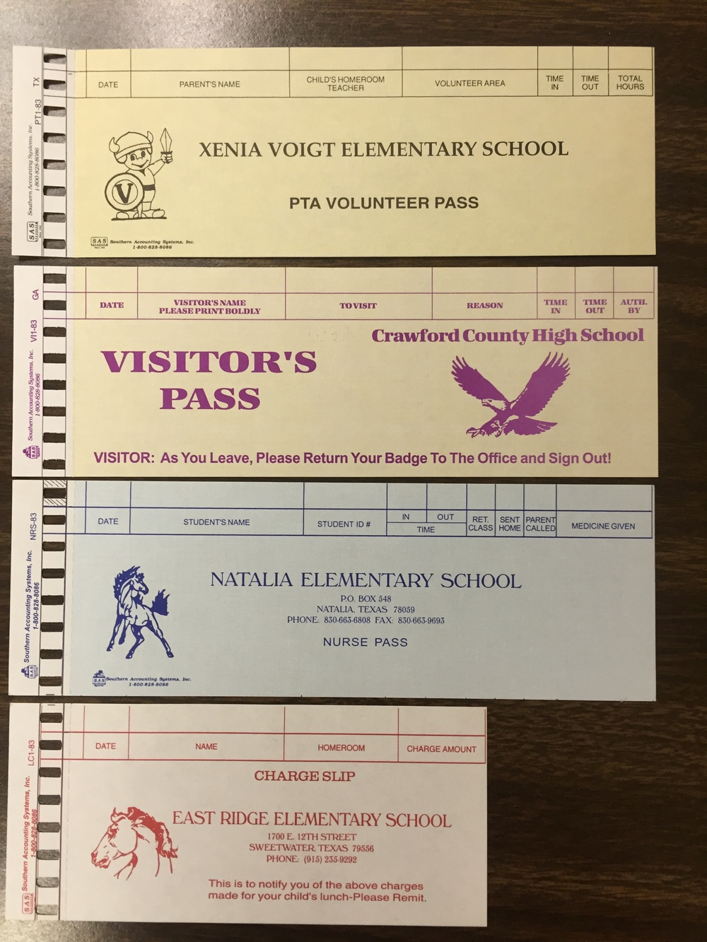 Samples of some of the more popular check in and out passes