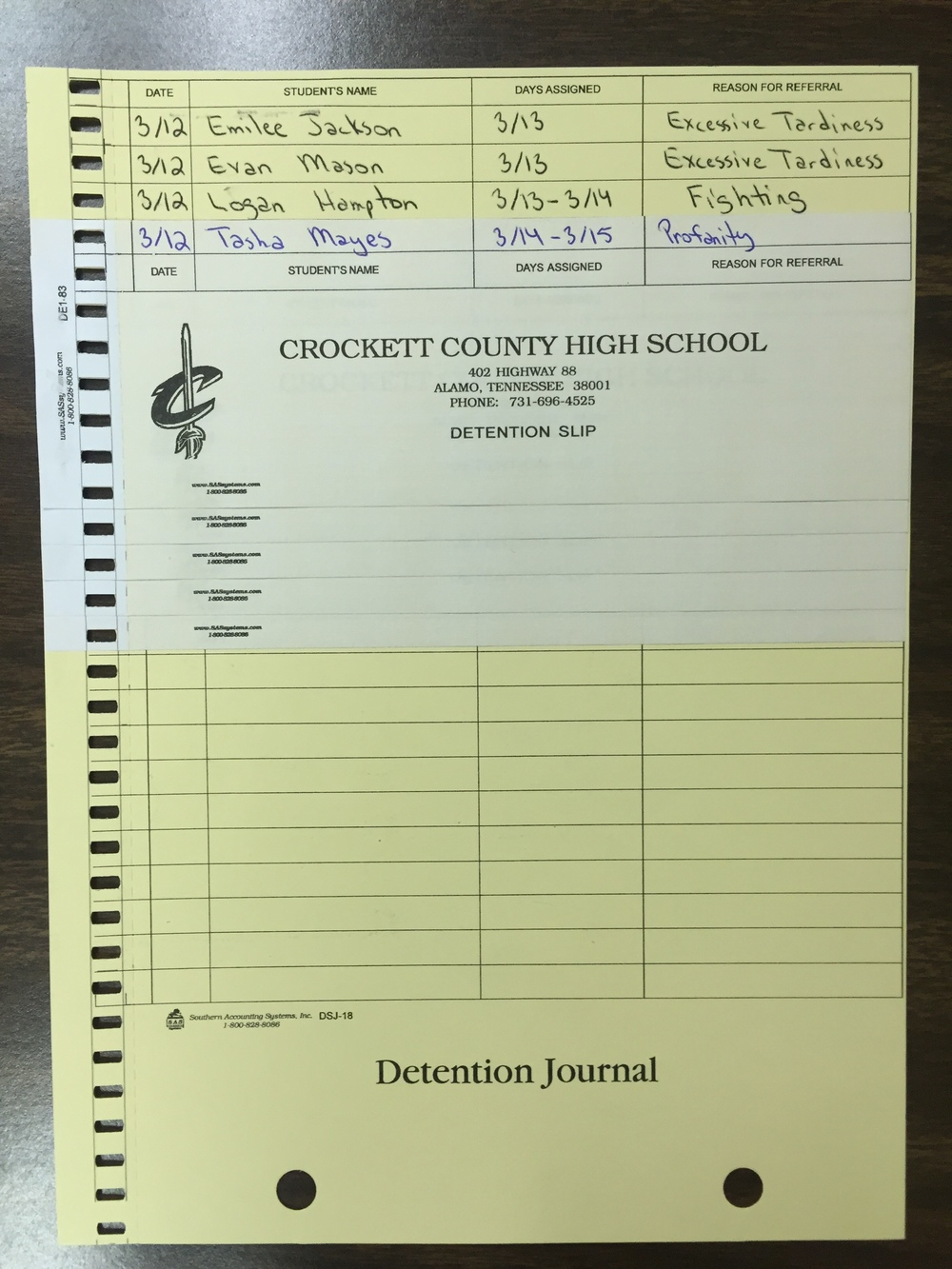 Create a dentition pass while also creating a detention log for teacher/administration.