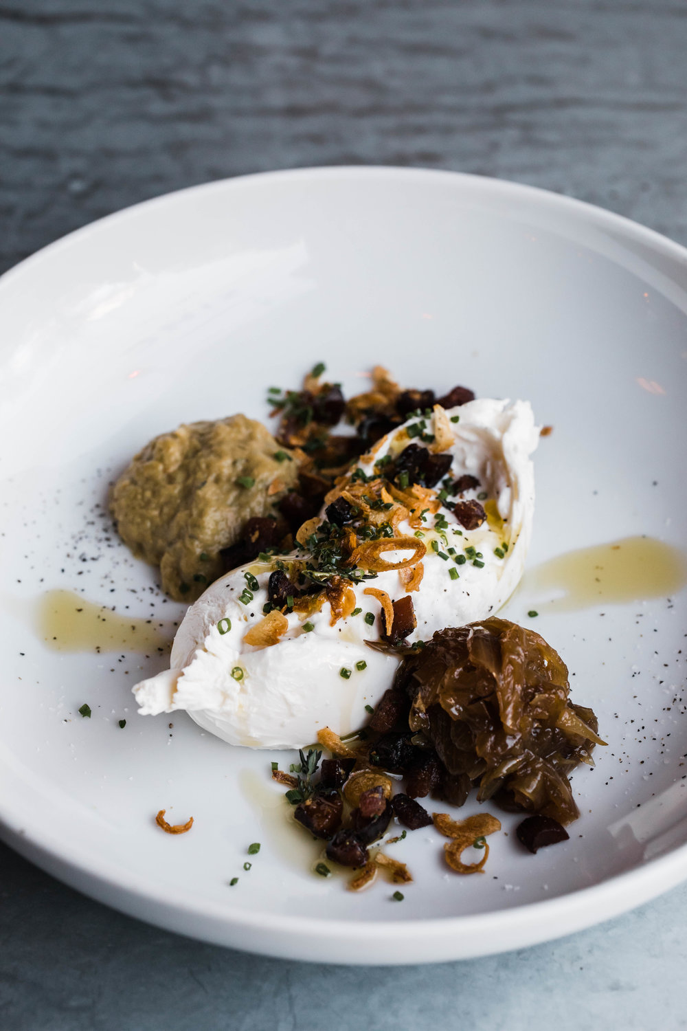 Fresh Burrata    Shallot Jam/ Bacon Gremolata/ Melted Leek Puree/Fennel Pollen