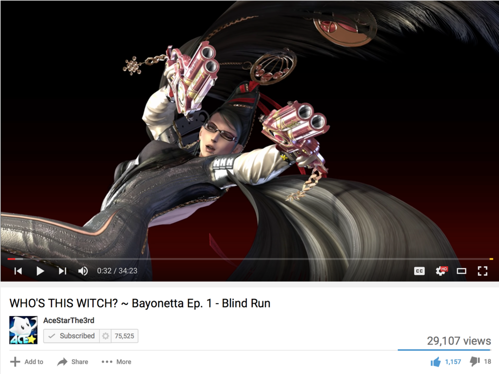 "This screen capture is of the title screen to Platinum Games' ""Bayonetta,"" which is featured in the ""Let's Play: Bayonetta"" series by YouTuber AceStarThe3rd."
