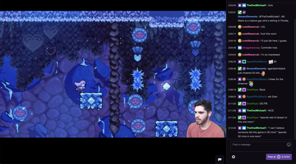 This screenshot shows me playing the game  Celeste  on the Nintendo Switch for an audience, in which some cheer me on and joke about a particularly difficult segment of the platforming game.