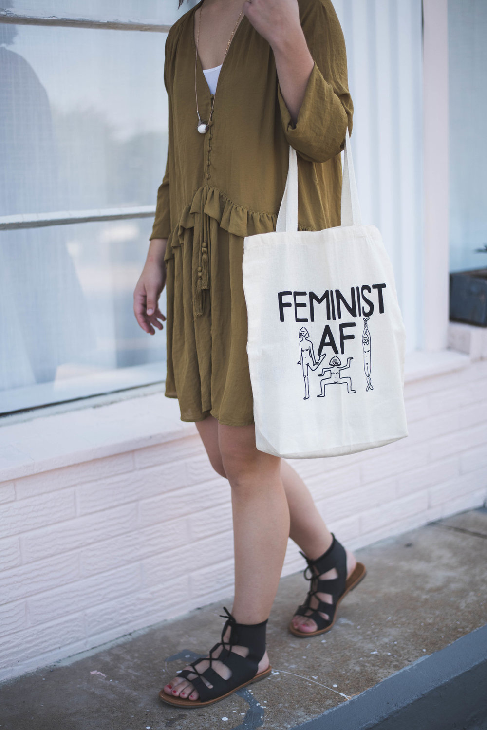 Feminist AF Tote Bag  - Paris Woodhull Illustrations • $15