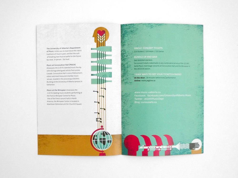 Natasia Designs Edmonton Graphic Designer and Illustrator Print Brochure Design Custom Illustration University of Alberta Department of Music Season Piece