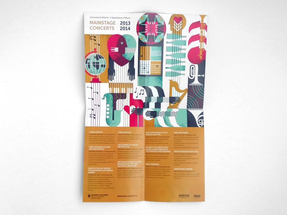 Natasia Designs Edmonton Graphic Designer and Illustrator Print Brochure Design Custom Illustration University of Alberta Department of Music Season Piece Custom