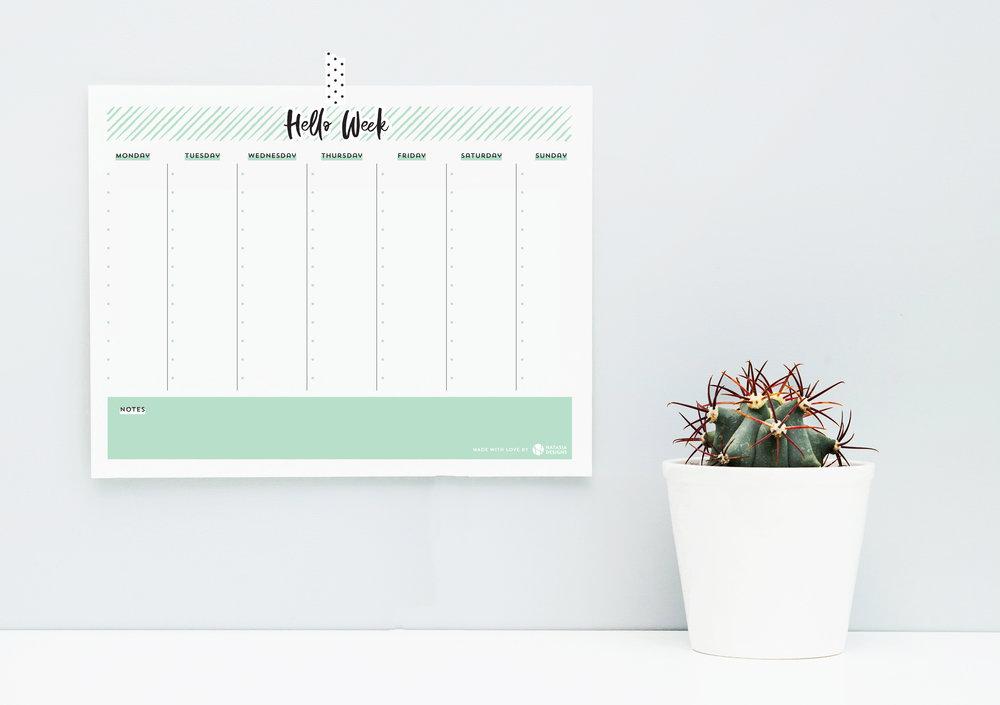 Natasia Designs Edmonton Graphic Designer Website Designer Free Printable Weekly Planner Fridge Freebie Alberta