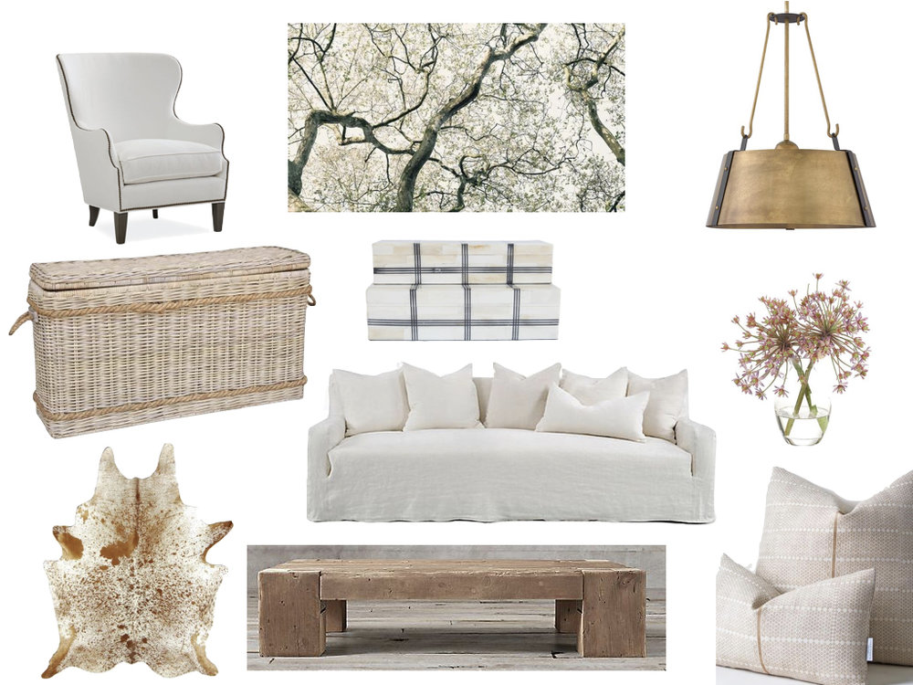 club chair //  SERENA & LILY  artwork / /   SHOPPE AMBER INTERIORS   ceiling fixture //   RIVERBEND HOME   basket console //   MCGEE & CO   boxes //   MCGEE & CO   floral arrangement //   ALICE LANE   cowhide //     THE RUG MERCHANT   sofa //  ONE KINGS LANE  coffee table //   RESTORATION HARDWARE    pillows //        SUSAN CONNOR NYC