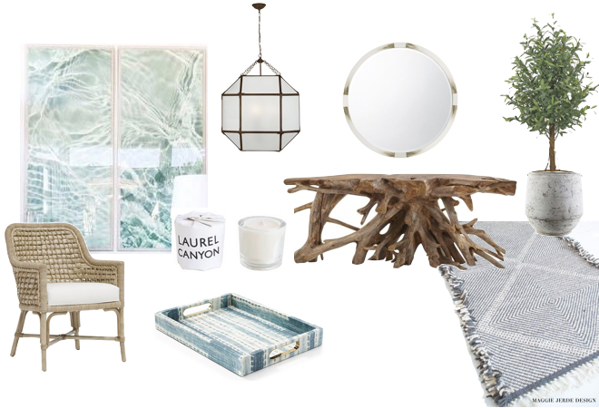 art //   NATURAL CURIOSITIES   chair/ /   MCGEE & CO   console //   JAYSON HOM E  mirror //   KATHY KUO HOME  rug //   MUIMA   tray //     ST. FRANK   planter //   HARVEST     candle //   MCGEE & CO    chandelier //     CIRCA LIGHTING