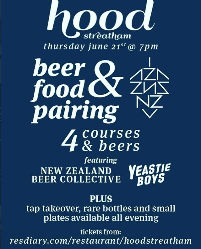 We have a very special beer and food pairing night happening @hoodstreatham on June 21st. There will be 4 courses of their exceptional modern British food paired with 4 of our kiwi beers.  There will of course be some nice surprises from us with some special beers to try.